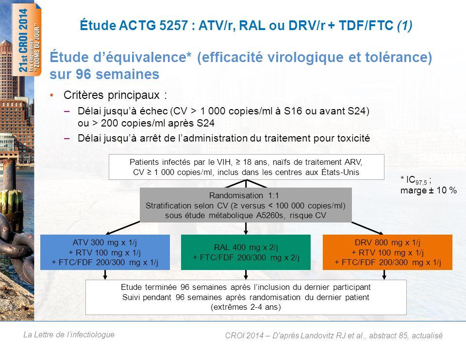 Étude ACTG 5257 : ATV/r, RAL ou DRV/r + TDF/FTC (2)