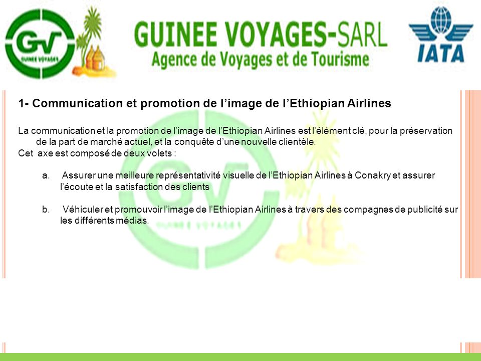 1- Communication et promotion de l'image de l'Ethiopian Airlines