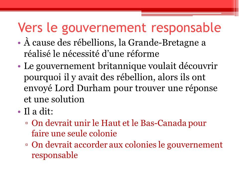 Vers le gouvernement responsable