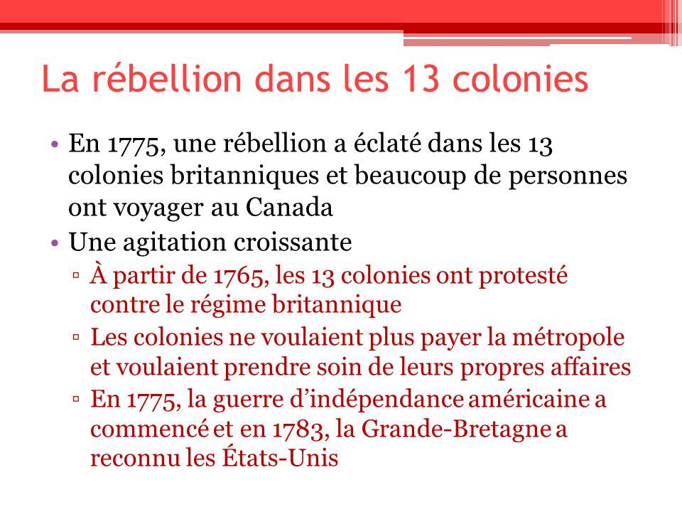 La rébellion dans les 13 colonies