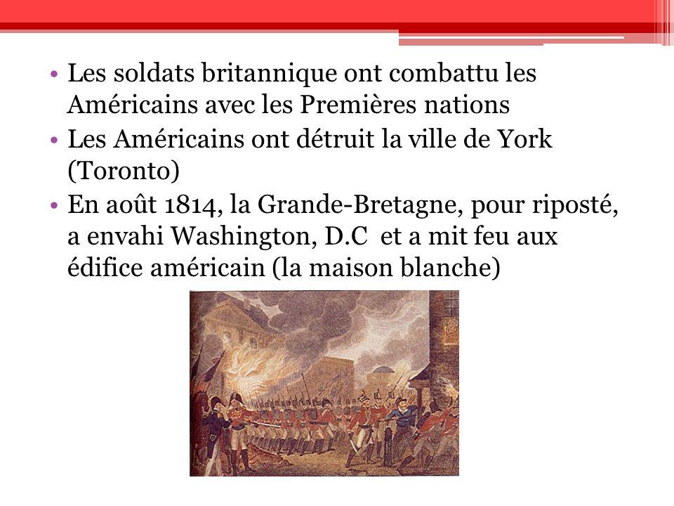 Les soldats britannique ont combattu les Américains avec les Premières nations