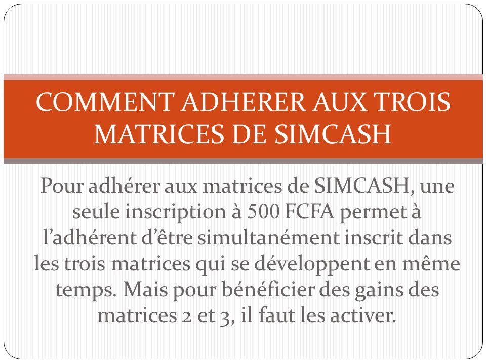 COMMENT ADHERER AUX TROIS MATRICES DE SIMCASH