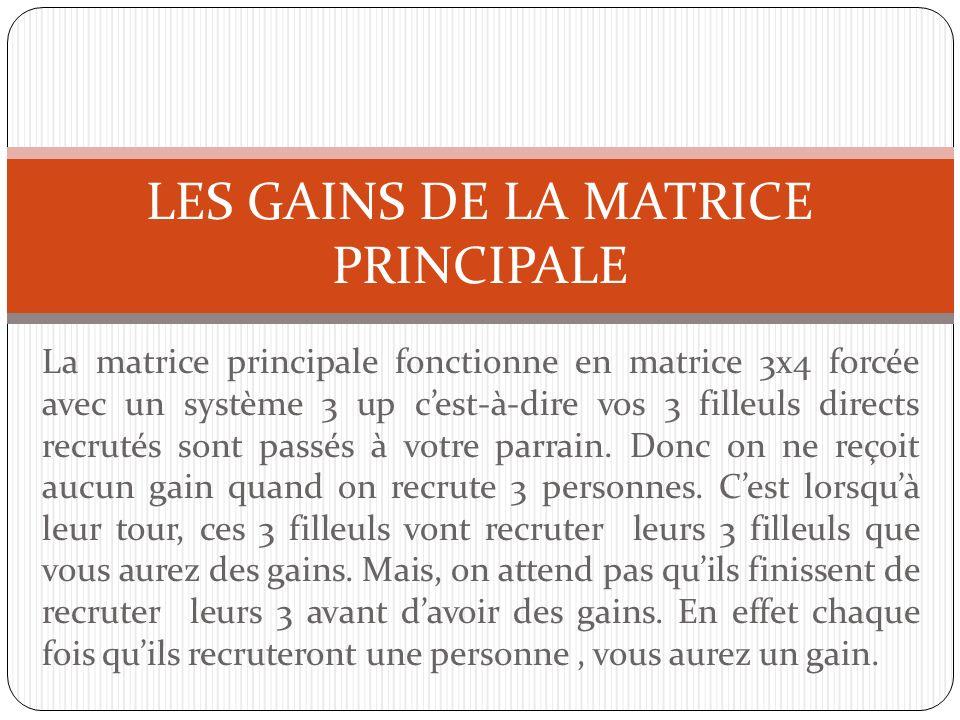 LES GAINS DE LA MATRICE PRINCIPALE