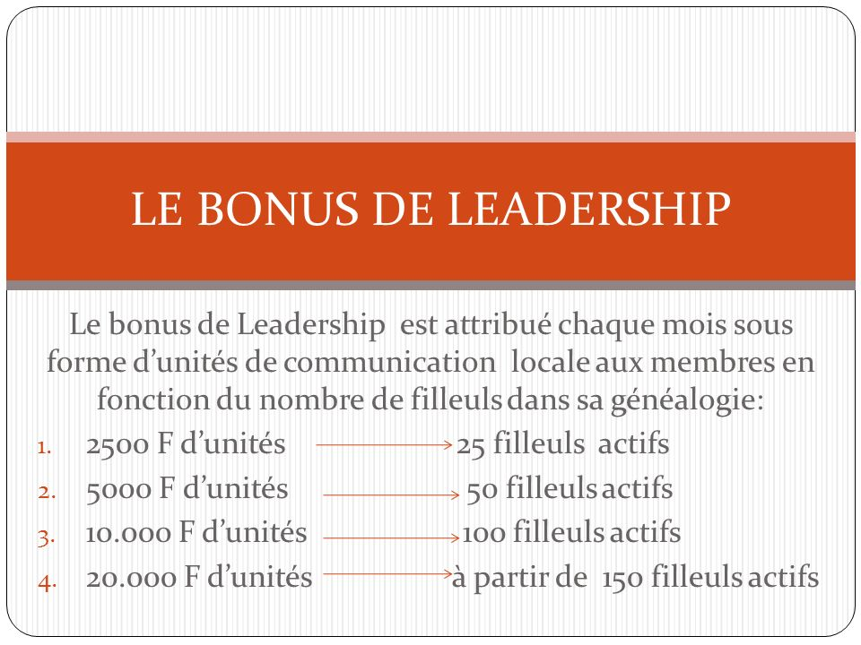 LE BONUS DE LEADERSHIP