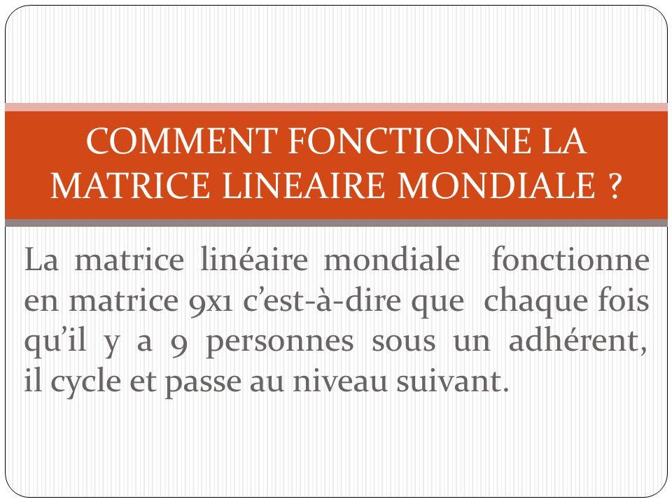 COMMENT FONCTIONNE LA MATRICE LINEAIRE MONDIALE