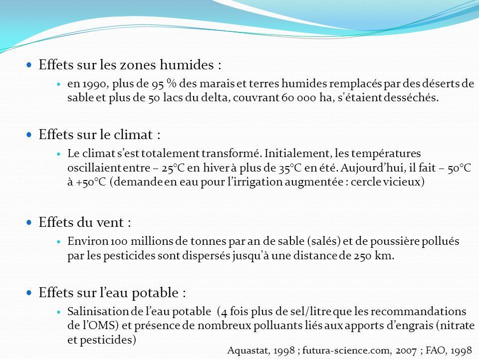 Effets sur les zones humides :