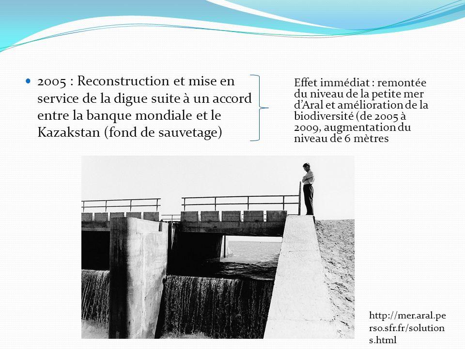 2005 : Reconstruction et mise en service de la digue suite à un accord entre la banque mondiale et le Kazakstan (fond de sauvetage)
