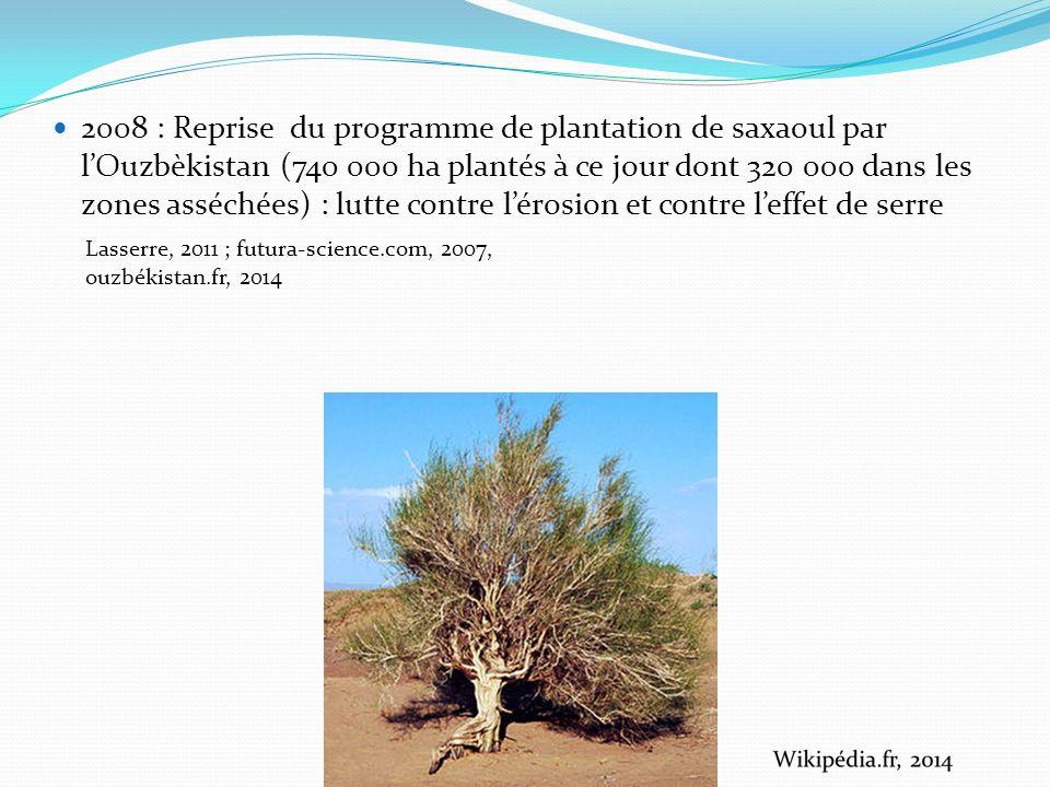 2008 : Reprise du programme de plantation de saxaoul par l'Ouzbèkistan (740 000 ha plantés à ce jour dont 320 000 dans les zones asséchées) : lutte contre l'érosion et contre l'effet de serre
