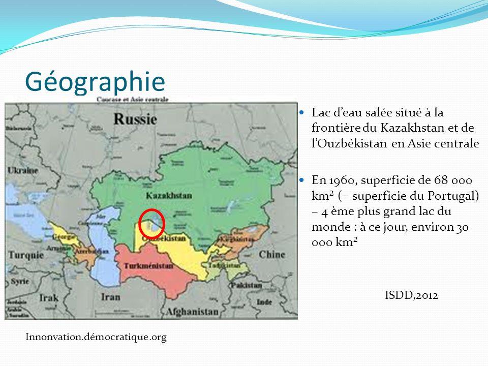 Géographie Lac d'eau salée situé à la frontière du Kazakhstan et de l'Ouzbékistan en Asie centrale.