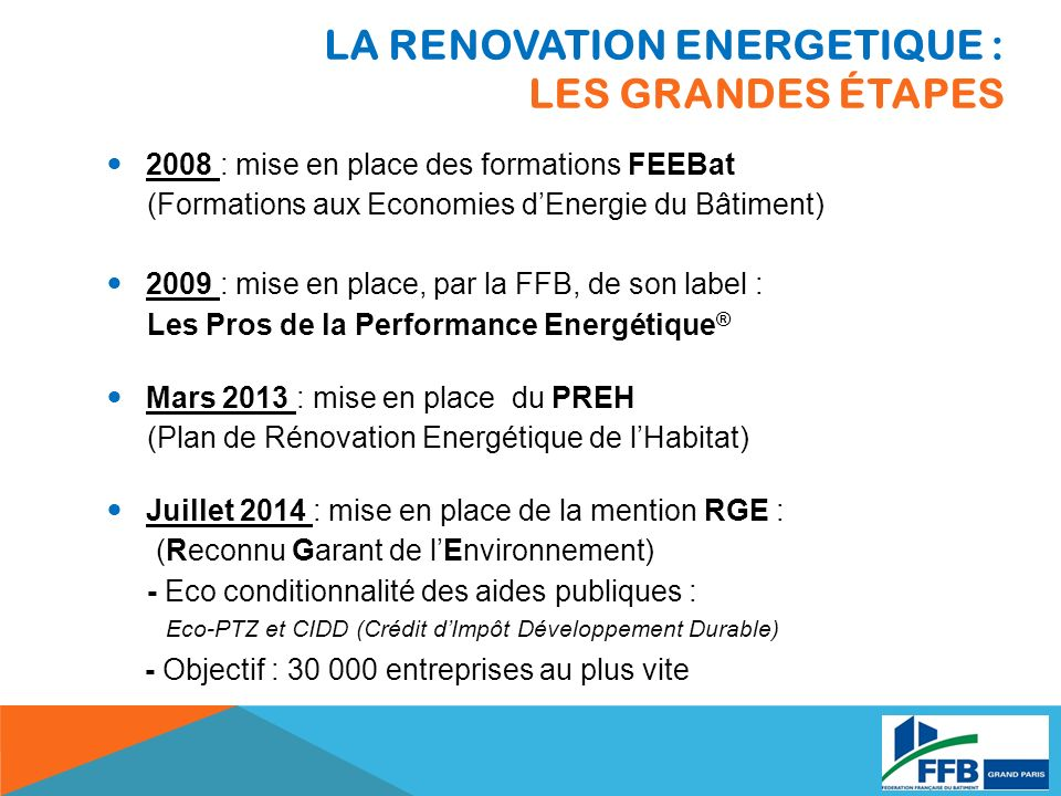 LA RENOVATION ENERGETIQUE : Les grandes étapes