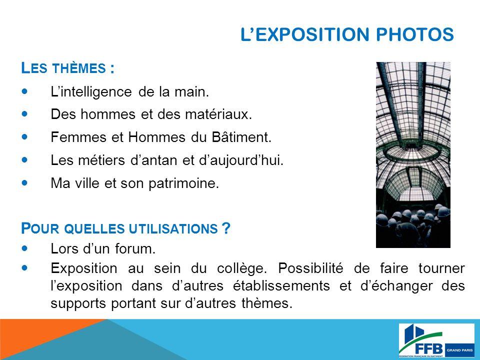 L'EXPOSITION PHOTOS Les thèmes : Pour quelles utilisations