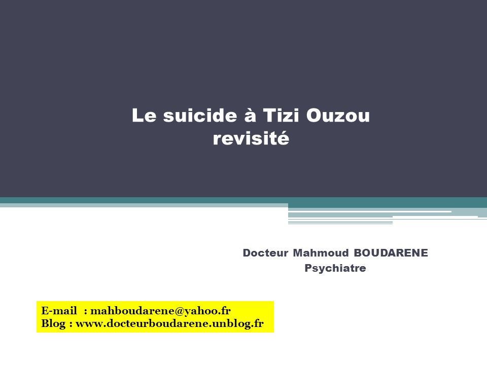 Le suicide à Tizi Ouzou revisité