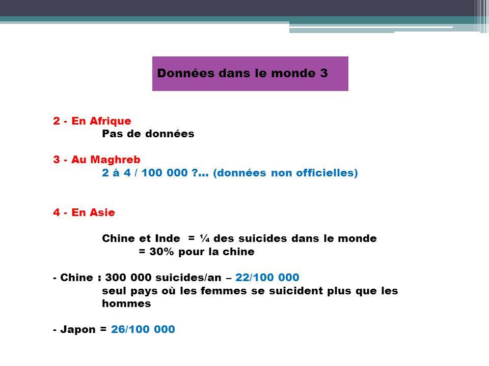 Données dans le monde 3 2 - En Afrique Pas de données 3 - Au Maghreb