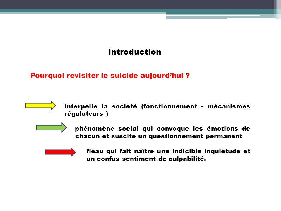 Introduction Pourquoi revisiter le suicide aujourd'hui
