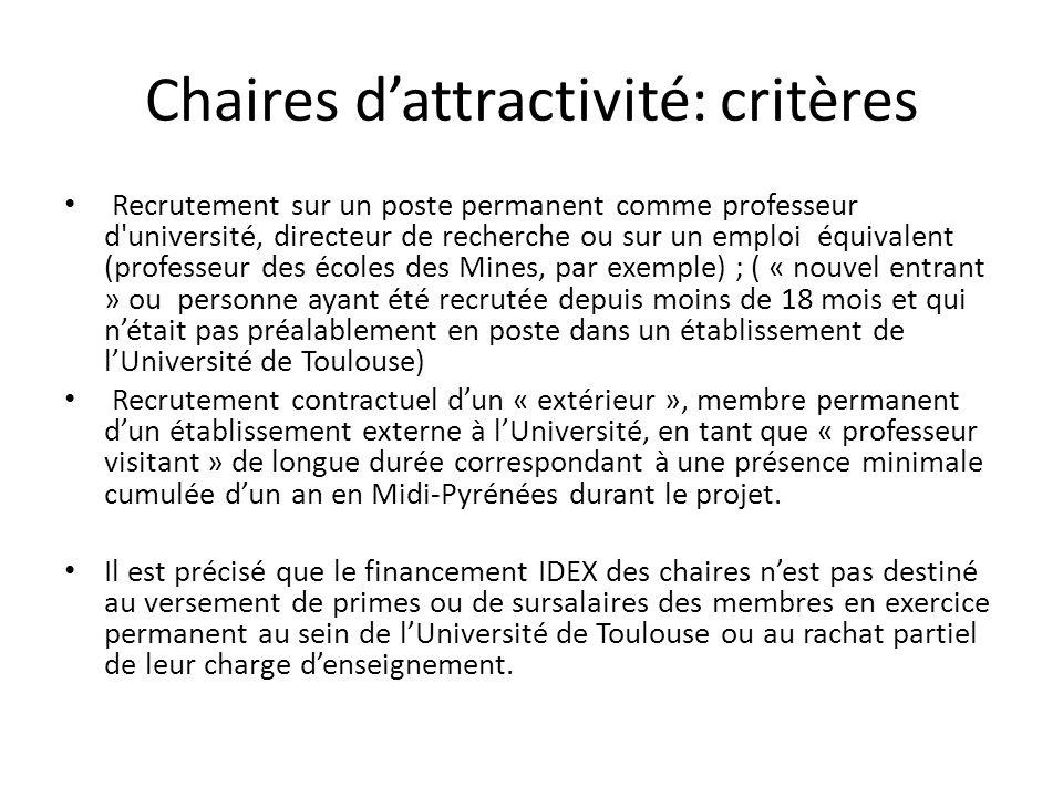 Chaires d'attractivité: critères