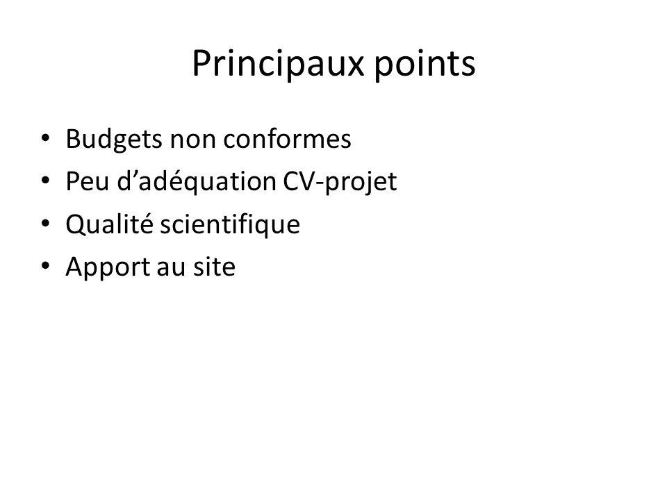 Principaux points Budgets non conformes Peu d'adéquation CV-projet