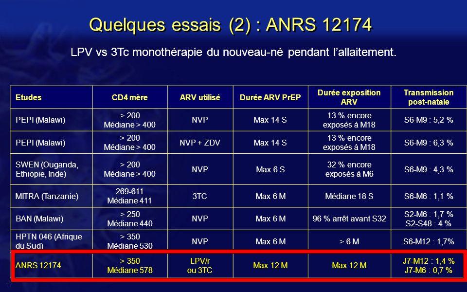 Quelques essais (2) : ANRS 12174