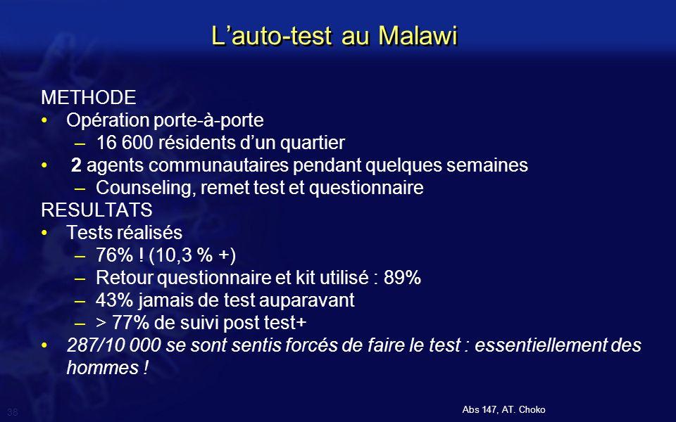 L'auto-test au Malawi METHODE Opération porte-à-porte