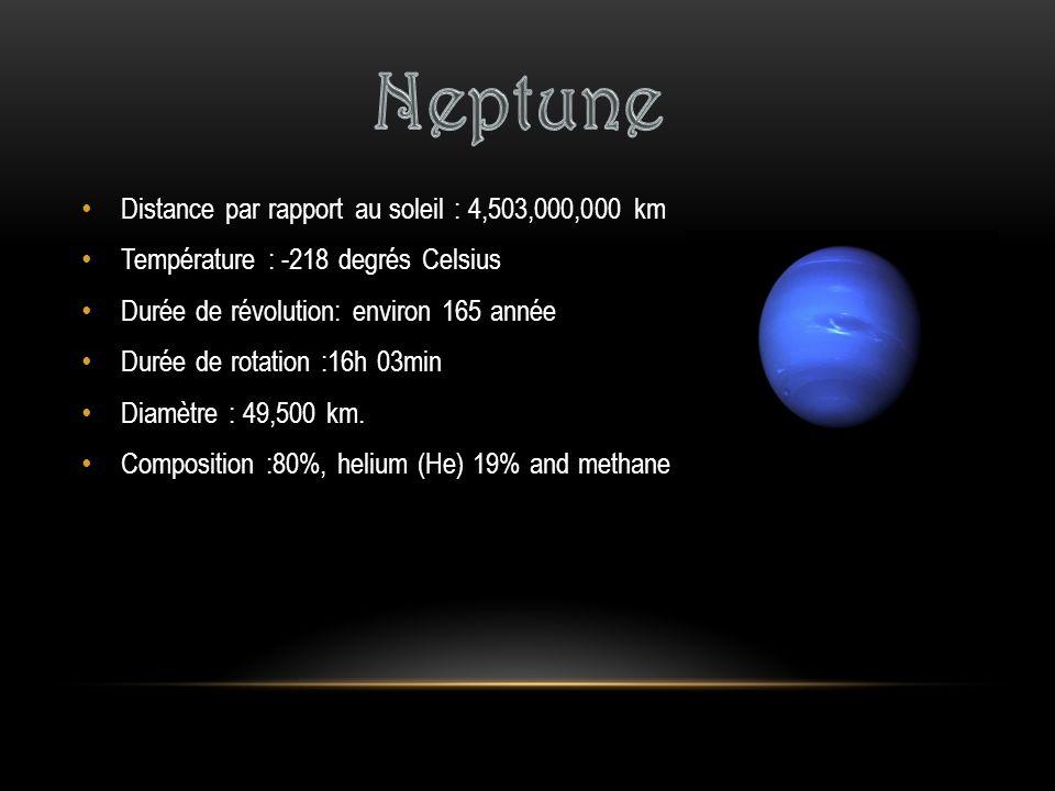 Neptune Distance par rapport au soleil : 4,503,000,000 km