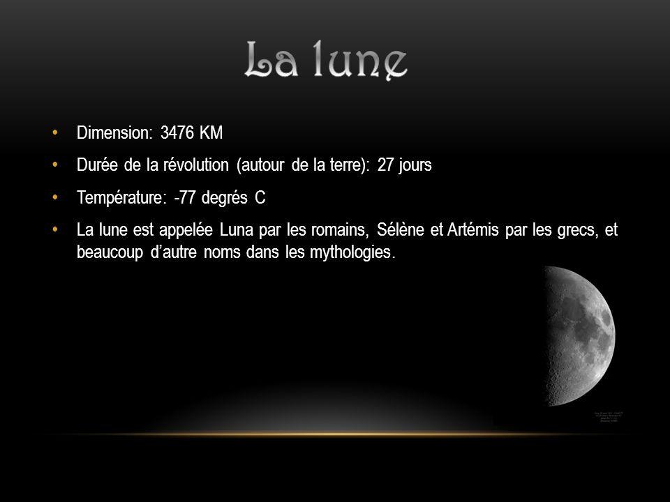 La lune Dimension: 3476 KM. Durée de la révolution (autour de la terre): 27 jours. Température: -77 degrés C.