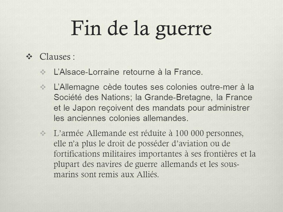 Fin de la guerre Clauses : L'Alsace-Lorraine retourne à la France.