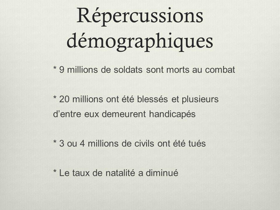 Répercussions démographiques
