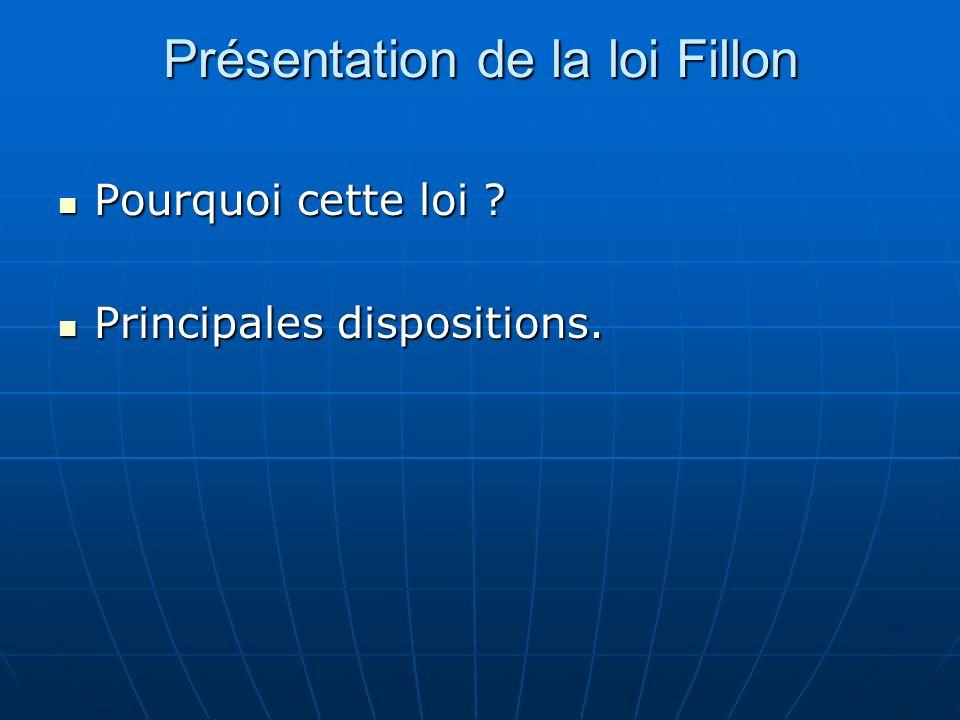 Présentation de la loi Fillon