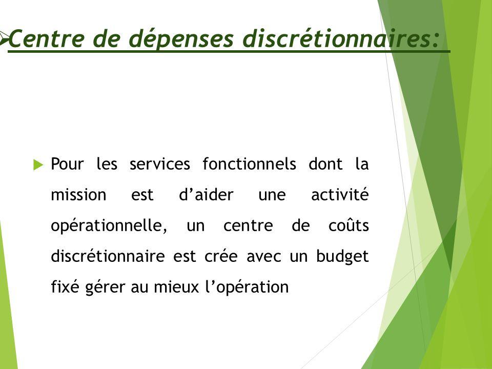 Centre de dépenses discrétionnaires: