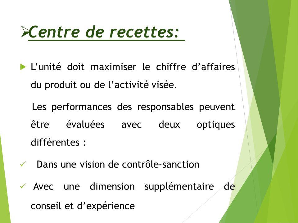 Centre de recettes: L'unité doit maximiser le chiffre d'affaires du produit ou de l'activité visée.