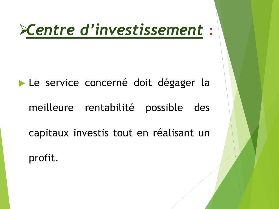Centre d'investissement :