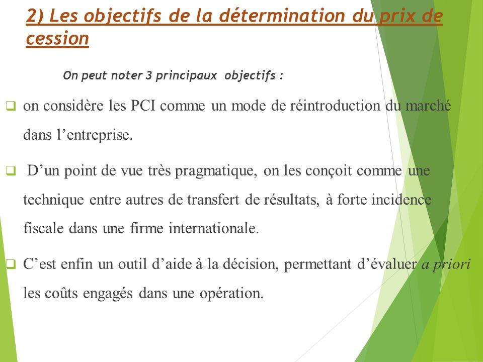 2) Les objectifs de la détermination du prix de cession