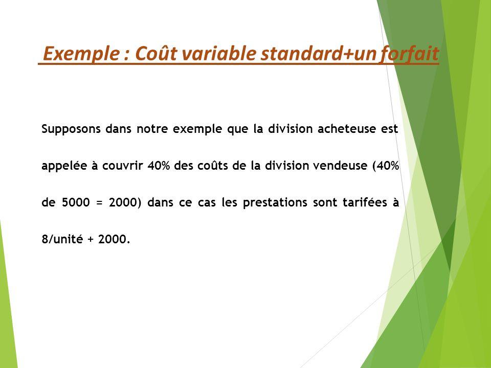 Exemple : Coût variable standard+un forfait
