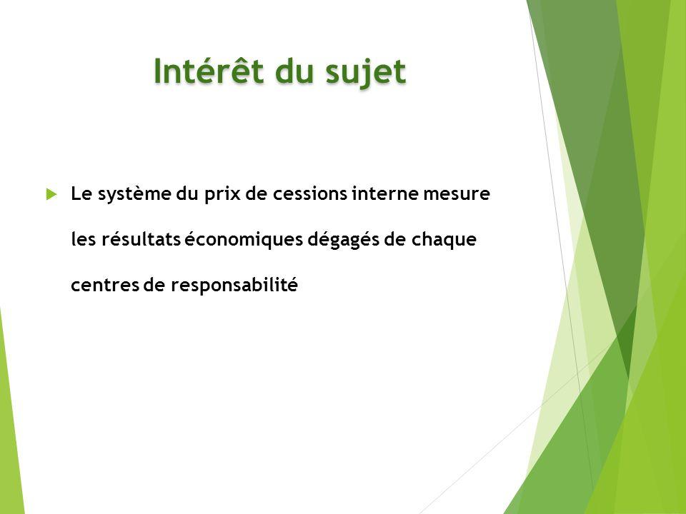 Intérêt du sujet Le système du prix de cessions interne mesure les résultats économiques dégagés de chaque centres de responsabilité.