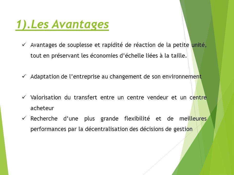 1).Les Avantages Avantages de souplesse et rapidité de réaction de la petite unité, tout en préservant les économies d'échelle liées à la taille.