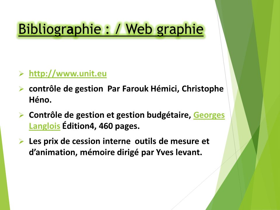 Bibliographie : / Web graphie