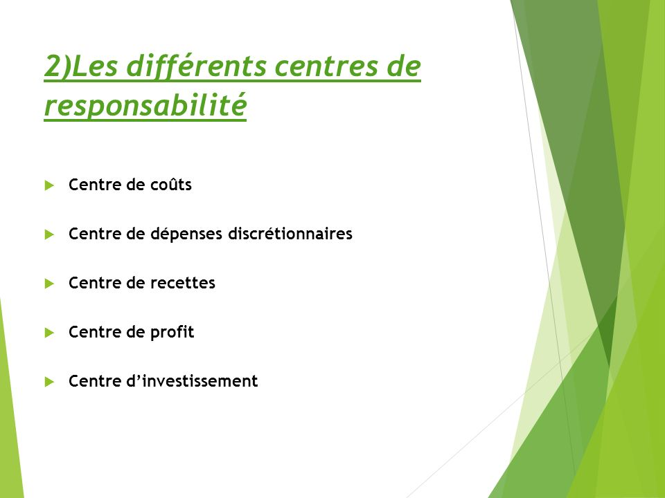 2)Les différents centres de responsabilité