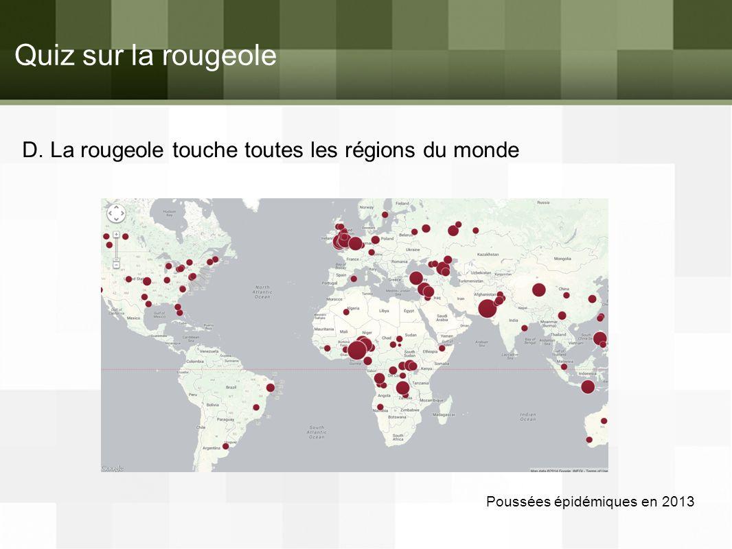 Quiz sur la rougeole D. La rougeole touche toutes les régions du monde