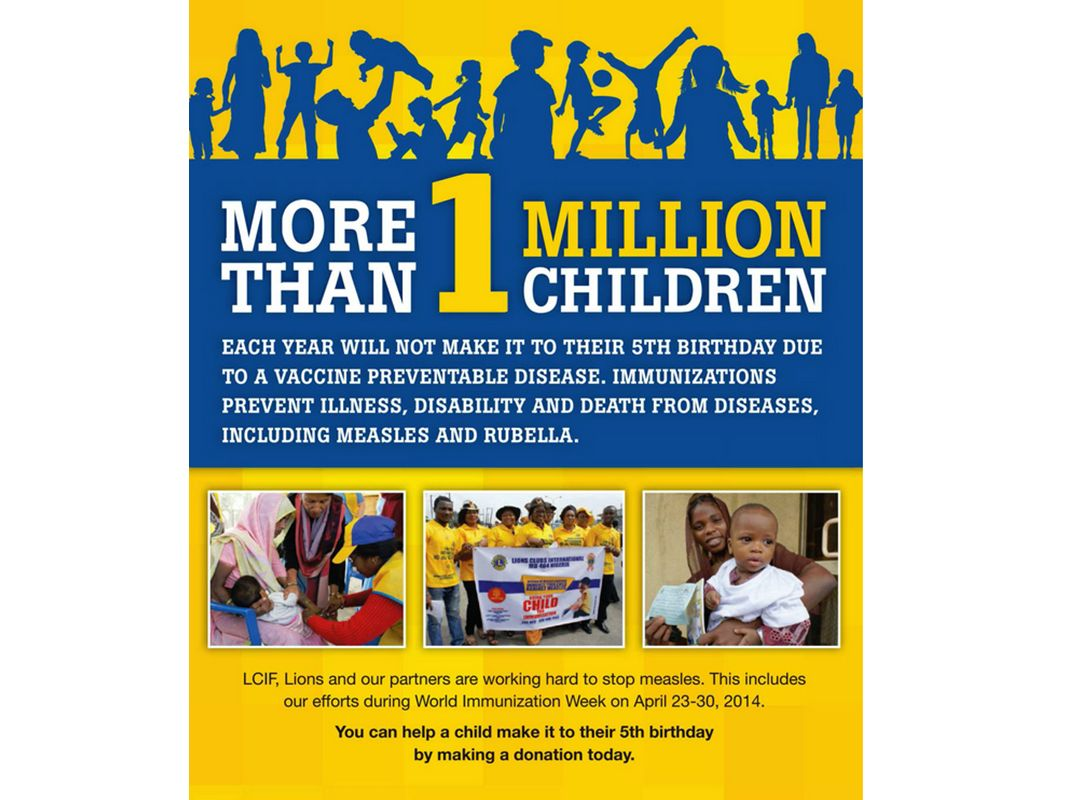 Chaque année, plus d un million d enfants n atteindront pas l âge de 5 ans en raison d une maladie évitable par la vaccination.