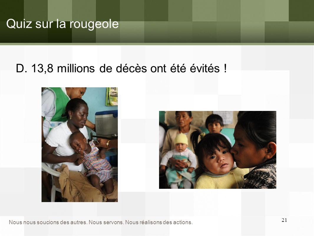 Quiz sur la rougeole D. 13,8 millions de décès ont été évités !