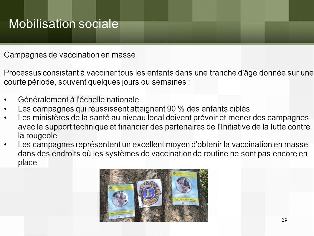 Mobilisation sociale Campagnes de vaccination en masse