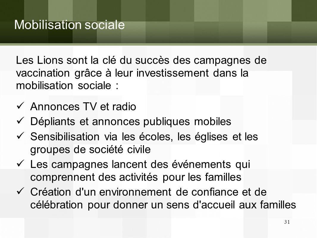 Mobilisation sociale Les Lions sont la clé du succès des campagnes de vaccination grâce à leur investissement dans la mobilisation sociale :