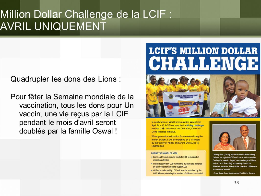 Million Dollar Challenge de la LCIF : AVRIL UNIQUEMENT
