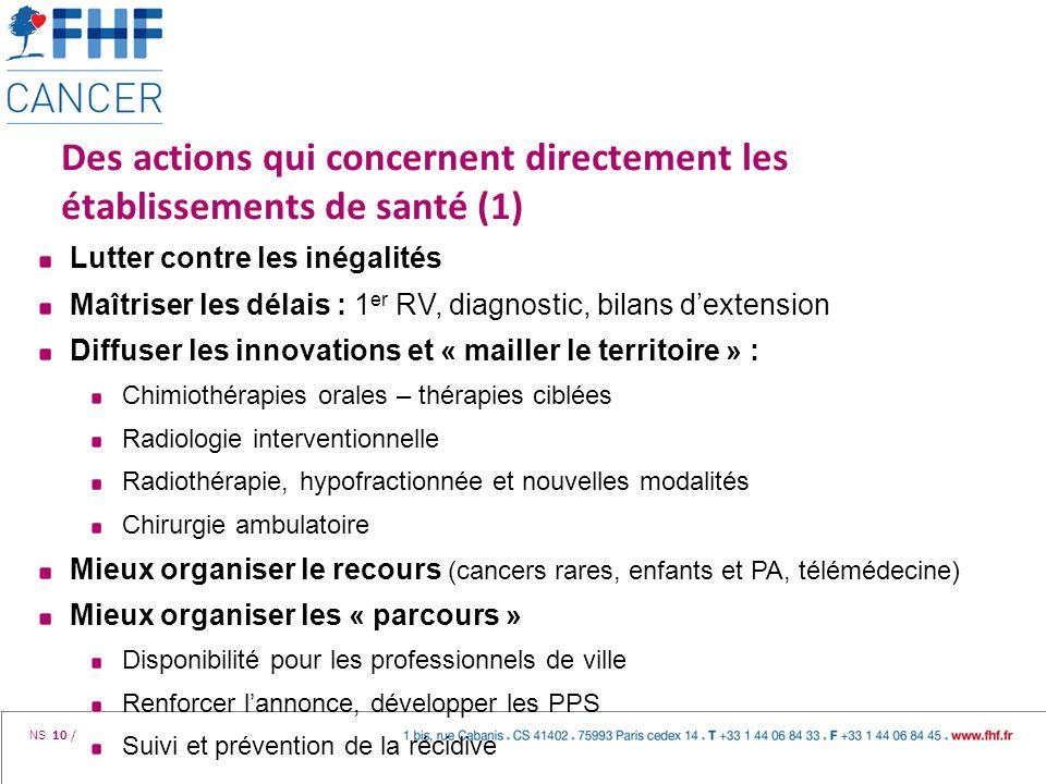 Des actions qui concernent directement les établissements de santé (1)