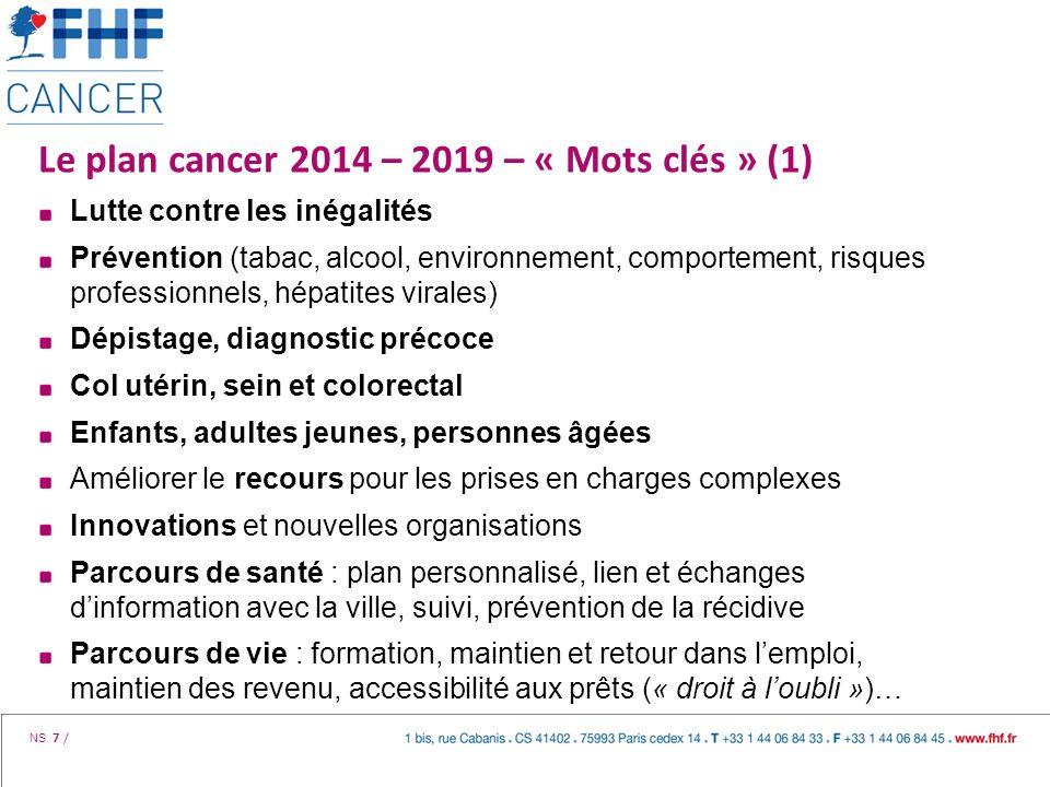 Le plan cancer 2014 – 2019 – « Mots clés » (1)