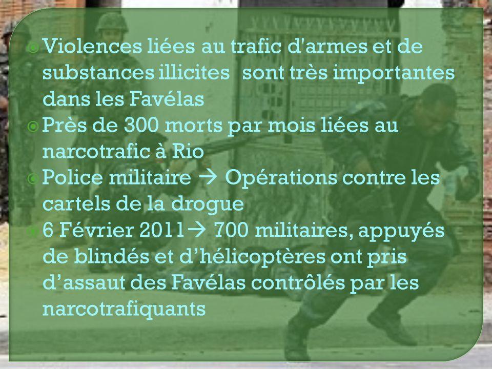 Violences liées au trafic d armes et de substances illicites sont très importantes dans les Favélas