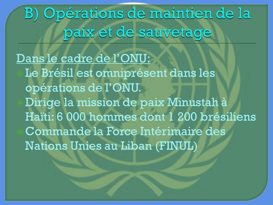 B) Opérations de maintien de la paix et de sauvetage
