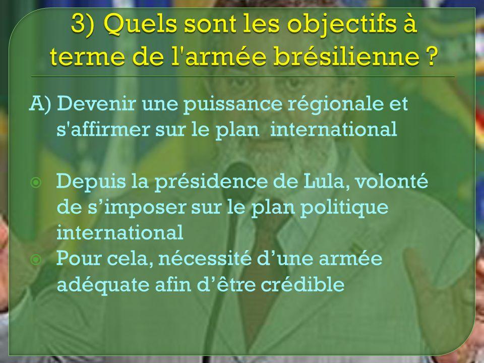 3) Quels sont les objectifs à terme de l armée brésilienne