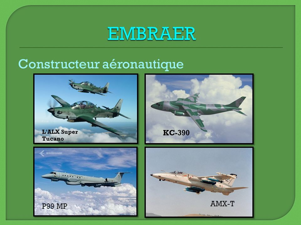 EMBRAER Constructeur aéronautique KC-390 AMX-T P99 MP