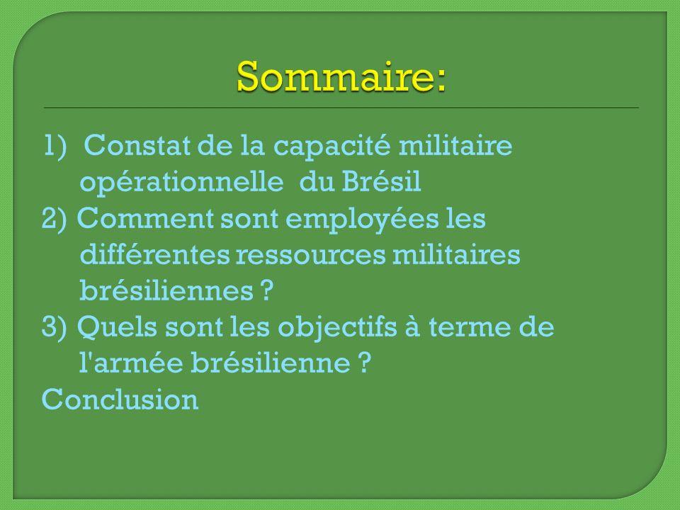Sommaire: 1) Constat de la capacité militaire opérationnelle du Brésil