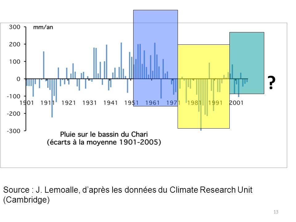 Commentaire de Jacques Lemoalle : 10% de moins (ou de plus) de pluie se traduit par 30% de moins (ou de plus) d apports du Chari.